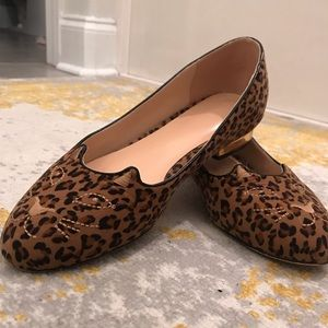 Leopard Cat Flats with gold heel